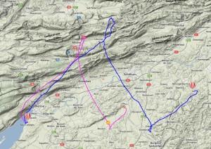 Flugbahn von Mission 4 - Prediction (pink) und effektive Flugbahn (blau)